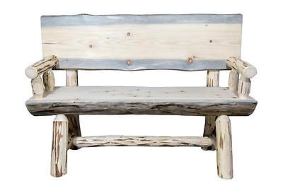 Rustic Outdoor Wooden Bench 4 ft  REAL LOGS Back and Arms Amish Made Benches