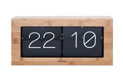 Karlsson Boxed Flip Clock XL Bamboo Retro Large Wooden Stylish Designer