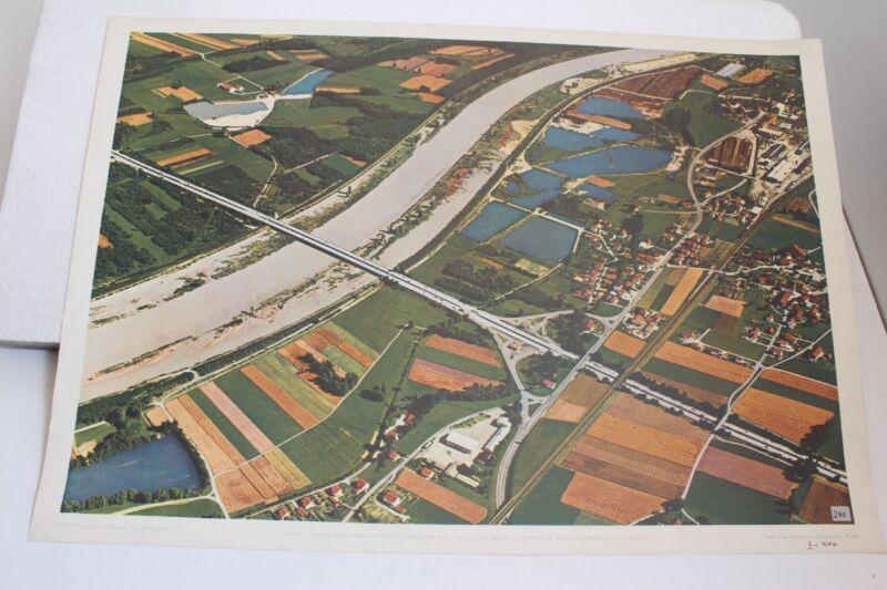 Old Schulwandtafel Chart Motorway Betw. Rosenheim And Kufstein Schulmann 4146