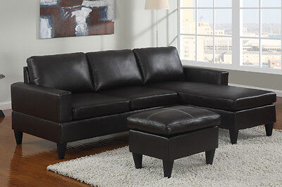 Sectional Sofa 3 piece living room set leather sofa couch chaise ottoman