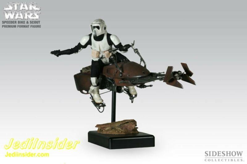 Sideshow 1/4 Star Wars BIKER SCOUT & SPEEDER BIKE Premium Format Figure Statue!!