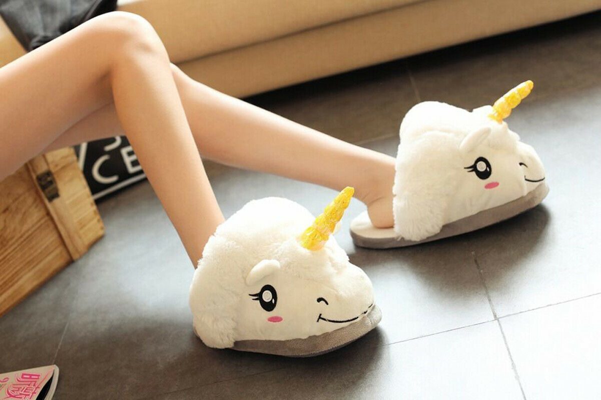Womens Kids Girls Cartton Plush Unicorn Slippers Winter Warm Indoor Cute Shoes