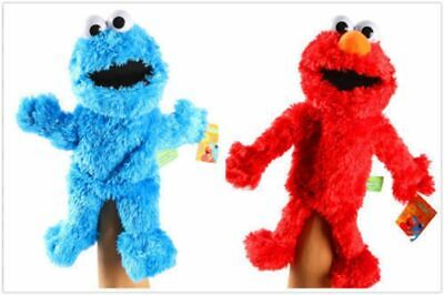 2pcs Living Hand Puppets Elmo Cookie Monster Sesame Street Soft Plush Toy Gift