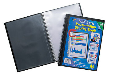 A4 Fold Back Presentation Folder Twin Wire Easel Flip Display Book - 24 Pockets