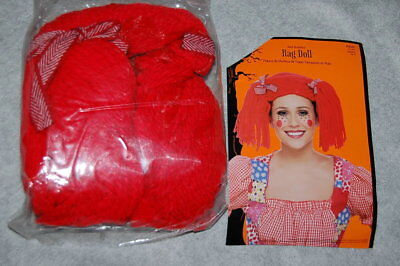 Halloween Costume Accessories RAG DOLL WIG Red Braided Yarn Pigtails ADULT SIZE - Halloween Pigtails
