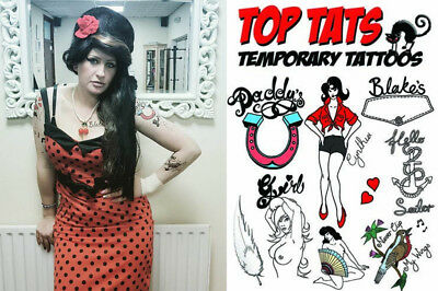 Life Size Costumes (10 LIFE SIZE LARGE Amy Winehouse Tattoos Fancy Dress Costume Outfit Tribtue Act)