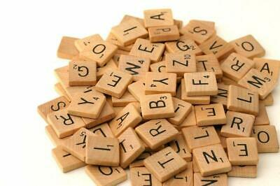 Wooden Scrabble Tiles complete set Crafts Pendant Spelling Alphabet Letter Black