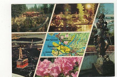North Shore Attractions Vancouver Canada Map Postcard 421a