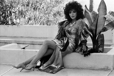 """JOAN COLLINS - 12"""" x 8"""" b/w Photograph CUERVO Tequila Advertisment 1986"""