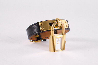 HERMES	Kelly Black Embossed Leather Gold Plated Padlock Buckle Bracelet Watch