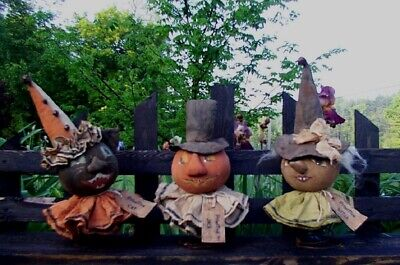 Primitive JACK O MAN, BLACK CAT & WITCH Awesome Halloween BOBBER Dolls Pattern - Awesome Halloween