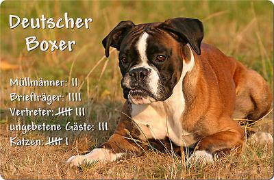 Deutscher BOXER - A4 Metall Warnschild Hundeschild SCHILD Türschild - DBX 01 T4