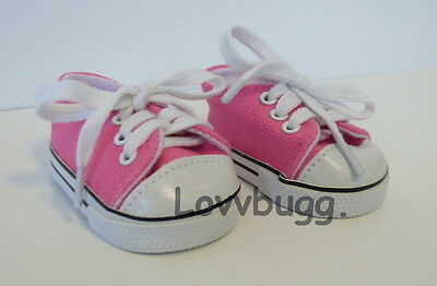 "Lovvbugg  Hot Pink Tennis Sneakers for 15"" - 18"" American Girl n Bitty Baby Doll Shoes"
