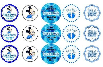 15 Disney Baby Boy Mickey Mouse Shower Stickers Lollipop Labels Personalized  ](Mickey Mouse Lollipops)