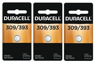 ~3~ Duracell 309 393 Button Coin Battery Silver Oxide 1.5 volt Watch - Duracell Electronic