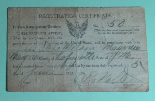 Vintage 1917 Mayville Mississippi Military Draft Card