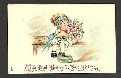 Tuck's Birthday Series Cute Little Girl With Roses Vintage Postcard Unused