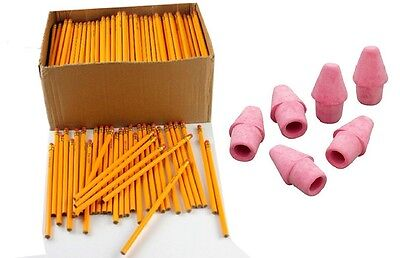 Wholesale Bulk Lot Of 50 Yellow No.2 Pencils With 50 Pink Cap Erasers Bundle