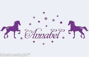 2-Horses-with-Custom-Name-WallSticker-Removable-Decal-Kids-Room-Pony
