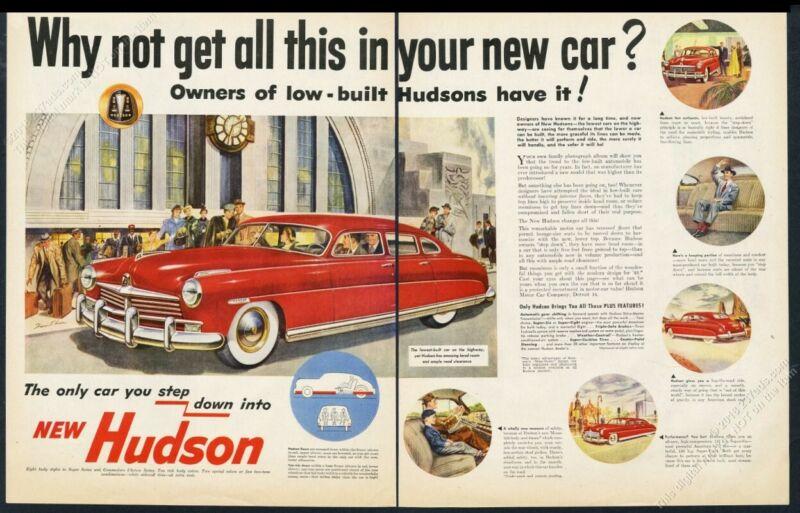 1949 Cincinnati Union Terminal train station art Hudson car vintage print ad