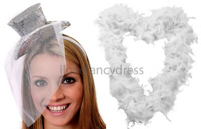 Silver Burlesque Costume (SILVER GLITTER TOP HAT WHITE FEATHER BOA LADIES BURLESQUE FANCY DRESS HEN)