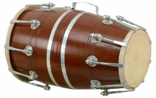 Wooden Dholak Indian Folk Indian Musical Instrument Nuts N Bolt Drum With Cover