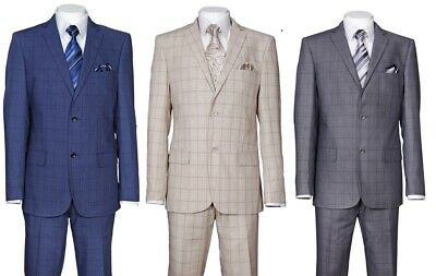 Men's 2 Piece Luxurious Suit Check Design Two Button Two Side Vents 570203