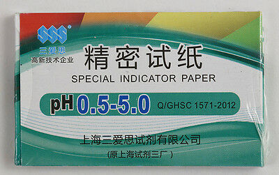 1 Pack 80 Strips Of Ph 0.5-5.0 Special Indicator Paper Test Lab Water Soil