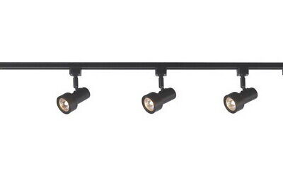 3-Light Black Mini Step Linear Track Lighting Kit With End Feed Cord And Plug