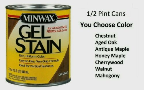 Minwax GEL STAIN Wood Finish Transparent Oil-Based NO DRIP ~ 0.5 pt ~ PICK COLOR