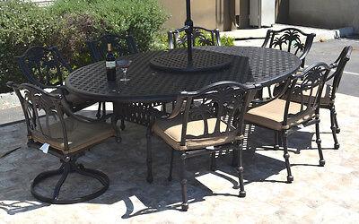 Nassau Patio - Patio dining set 10 piece cast aluminum Nassau table 70 x 100