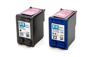 NEW Genuine HP 21 & 22 Ink Black/Color Cartridge Combo