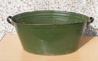 Vintage Green vitreous enamelled bath / planter 23