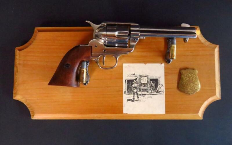 Colt 45 Peacemaker Revolver Replica BKA 98 w/ Wyatt Earp Badge Plaque