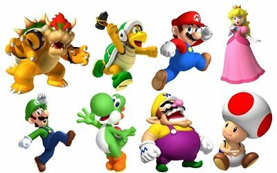 Mario Bros Characters (SUPER MARIO BROS 8 CHARACTERS SET Decal WALL STICKER Home Decor Art)