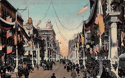 Chicago  Il  Illinois    State Street Scene  Carnival Attire     1912 Postcard