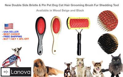 - 2 in 1 Double Sided Shedding Brush Comb Long Hair Pet Fur Grooming Dog Cat Puppy