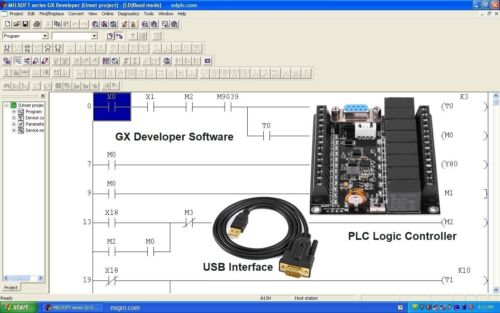 PLC Controller, Programming Ladder Logic Software w FREE Training Course GX USB