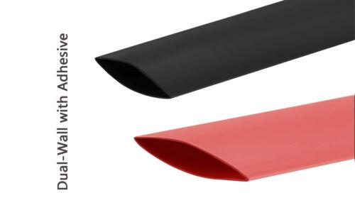 "3/4"" Dia 3:1 Heat Shrink Tubing Adhesive Lined Marine Grade (Black+Red) 5 FT"