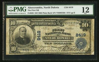 1902  10 Plain Back Abercrombie North Dakota Nd Pmg 12 Its The Only 1 On Census