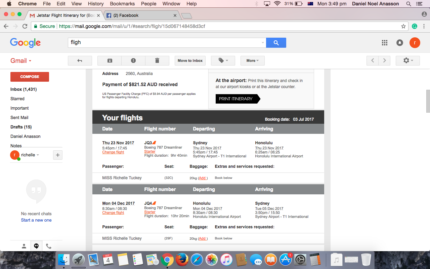 Return ticket to Honolulu, Hawaii