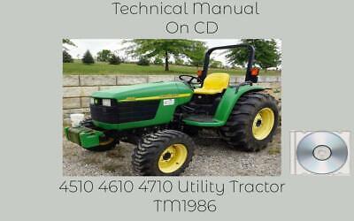 John Deere 4510 4610 4710 Utility Tractor Service Technical Manual Tm1986 On Cd