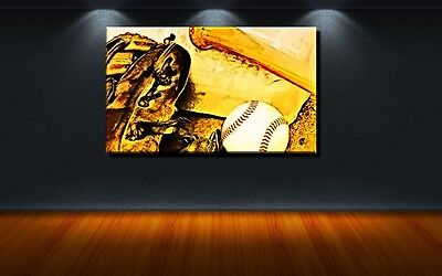 LEINWAND BILD ER XXL POP ART BASEBALL HANDSCHUH USA MLB ABSTRAKT GOLD BIS