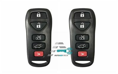Pair for 2004-2009 Nissan Quest Remote Car Key Fob 5b Shell Pad Case