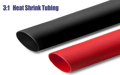 14 Dual Wall Adhesive Glue Lined 31 Heat Shrink Tubing Black Red 25ft