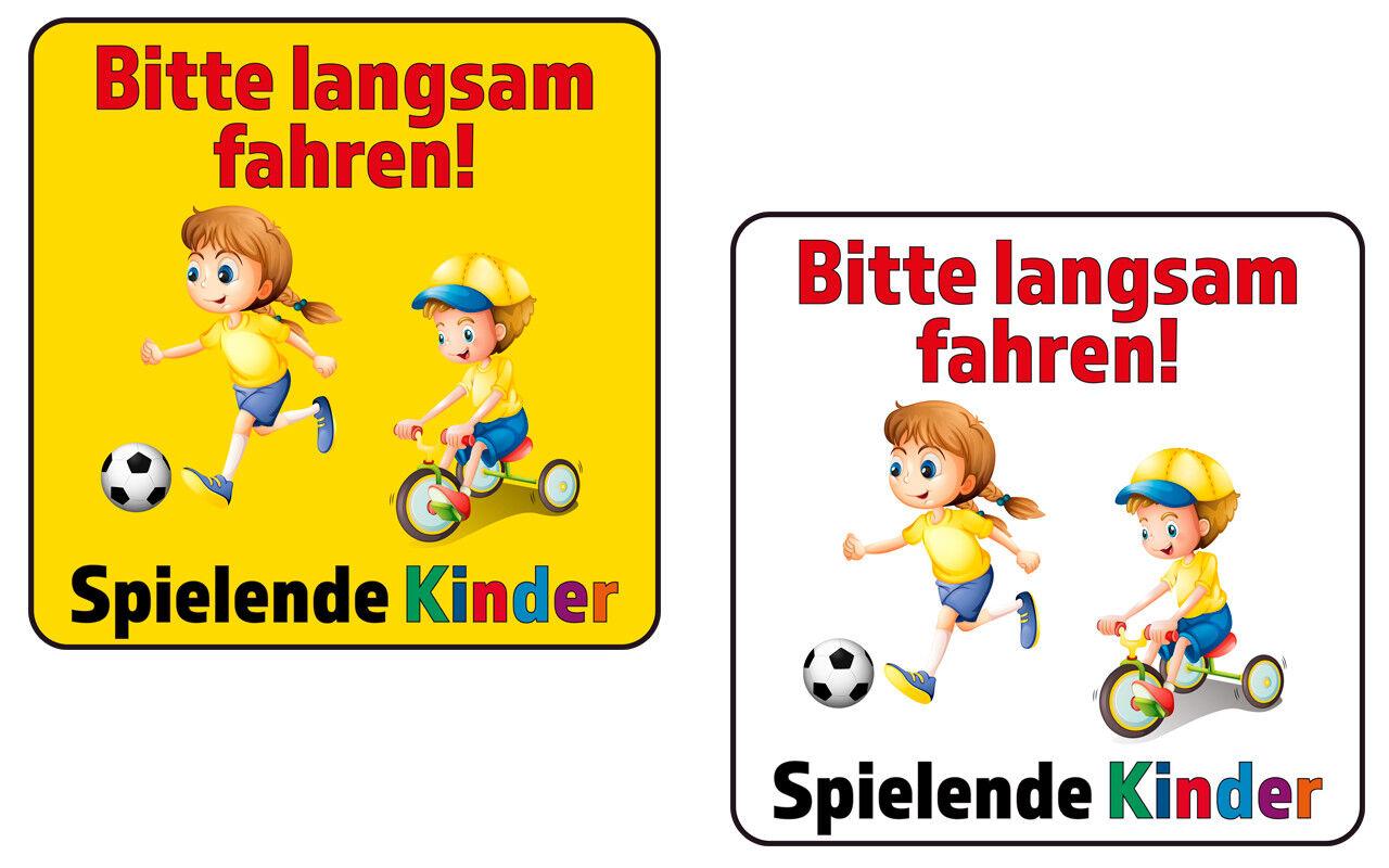 Schild oder Aufkleber - Langsam fahren! Spielende Kinder - 40x40cm Straßenschild