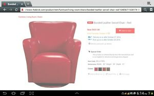 BONDED LEATHER RED SWIVEL CHAIR
