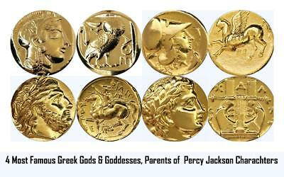 4 Top Famous Greek Coins,Percy Jackson's Characters Parents,Gods Goddesses T4-G