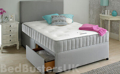 GREY FABRIC DIVAN BED SET + MEMORY MATTRESS + HEADBOARD 3FT 4FT 4FT6 Double 5FT