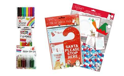 Christmas Set Activity Pack Letter to Santa 24 Crayons 8 Markers 4 Glitter Glues - Halloween Drawing Activities